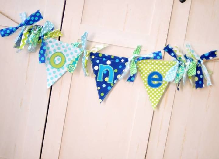Shabby High Chair ONE Banner In Blue, Aqua, Lime Green By FreshSqueezed Baby