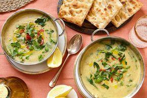 Turkse linzensoep met spinazie en gegrild brood