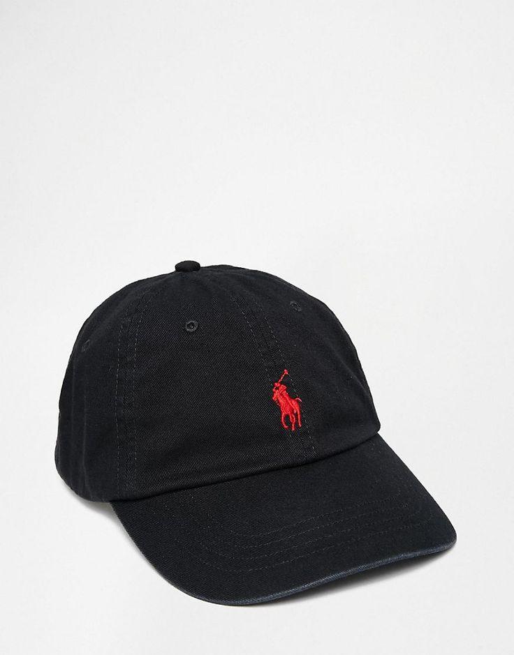 2120ee9eaf55 Polo Ralph Lauren - Casquette de baseball avec logo joueur de polo rouge -  Noir