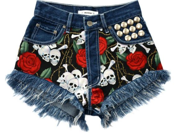 ROSES and Skulls denim shorts High waist waisted patched by DEESEM