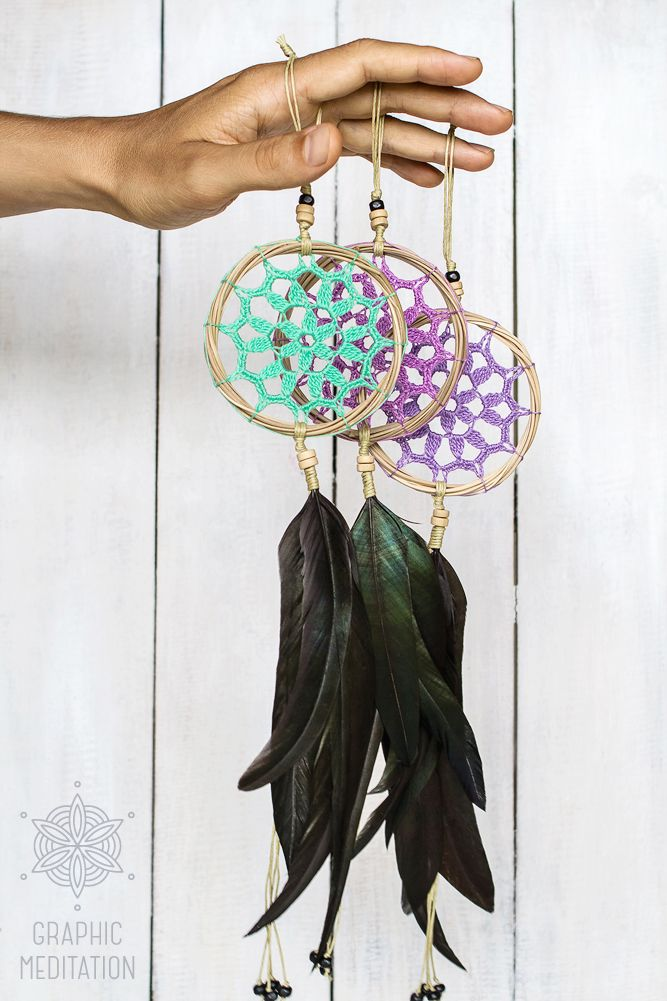 "Mini Dream Catchers 3"", Crochet boho wall decor with beautiful handmade lace by GraphicMeditation"