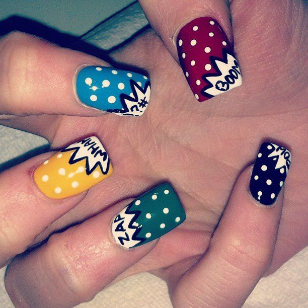 34 best crazy impressive nail art images on pinterest dress up comic style halloween nail art prinsesfo Image collections