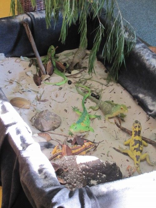"""""""lizard world"""" - great use of a sand/water table for science related play & learning"""