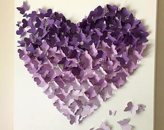 Butterfly Wall Art - Purple Ombre Butterfly Wall Art - Nursery Decor - Butterfly Wall Art - Wall Art - Nursery Art - Baby Shower Gift - Gift