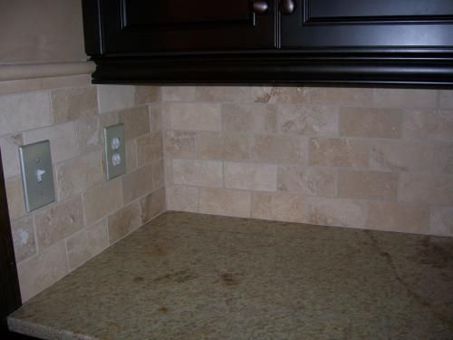 ivory travertine subway tile backsplash kitchen pinterest