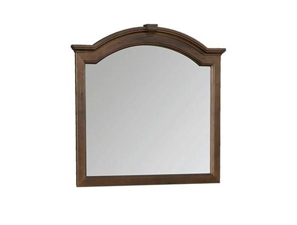 Angelique M -  The split arched crown with the keystone block highlights this mirror in this collection. This piece is heavily distressed solid maple with a beveled glass mirror.   This fine collection is meant to inspire timeless designs that still capture our hearts today. Each piece is heavily distressed to create a look reminiscent of the many character marks left behind from generations of daily use.