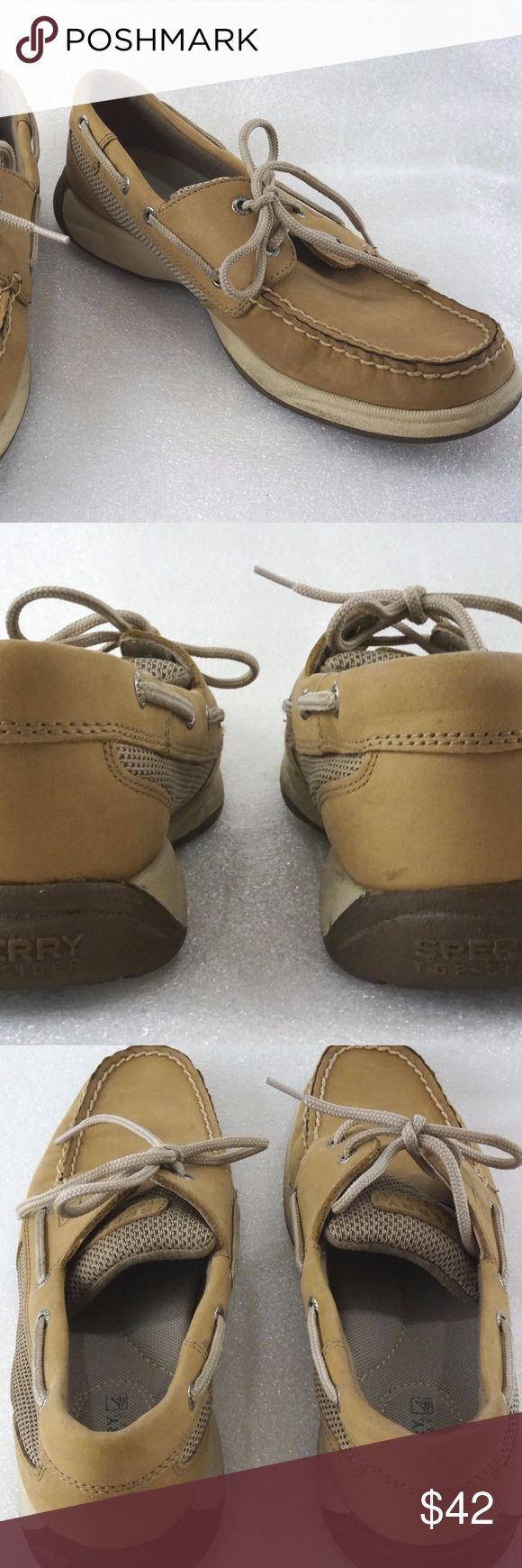 """Tan Boat Shoes Sperry Fire Fish 8M Leather Womens For sale is a pair of Sperry Topsider boat shoes from the Fire Fish line. Has some minor scuffs, insole and soles are in good condition. No major issues. Insoles are clean and in great condition.   Size: 8M  Measurements Length: 10.25"""" measured from back of sole to front of sole Width: 3.75"""" measured at widest part of soles  I'll ship within 24 hours  Thank you Sperry Shoes"""