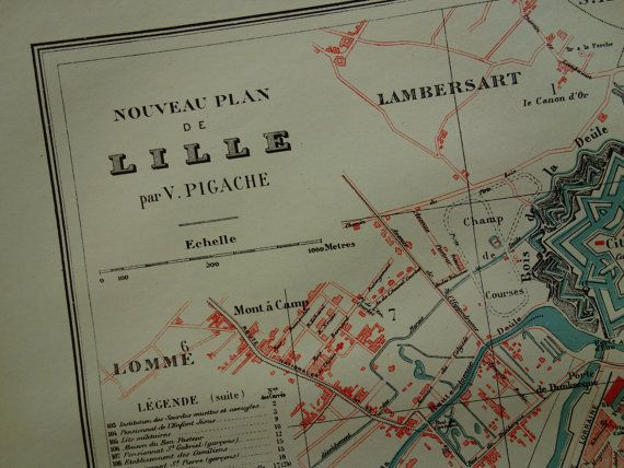 LILLE old map of Lille 1896 LARGE original by DecorativePrints