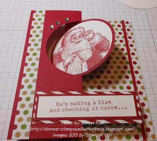 "Stamp Set:  Santa's List Ink:  Cherry Cobbler Card Stock:  Cherry Cobbler, Whisper White DSP:  Seasons of Style dsp stack  Extras:  Rhinestone Basic Jewels; 2 1/2"" Circle Punch, Snail Adhesive; Multipurpose Liquid Glue, Circle Card Thinlits Die"