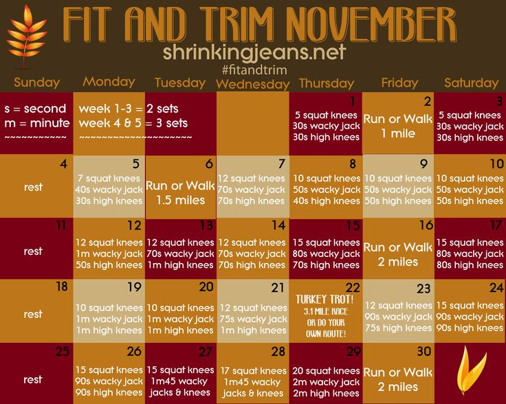 Does anyone want to do this with me? I'm Starting it T O D A Y !!  Fit and Trim November - A Workout Calendar from Sisterhood of the Shrinking Jeans - shrinkingjeans.net