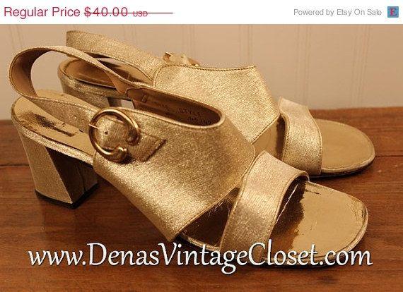 60% OFF Memorial Day SALE Vintage Shimmery Gold Metallic Peep Toe Sandals  Heels Sears 8 1/2B