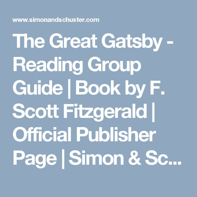 The Great Gatsby - Reading Group Guide | Book by F. Scott Fitzgerald | Official Publisher Page | Simon & Schuster