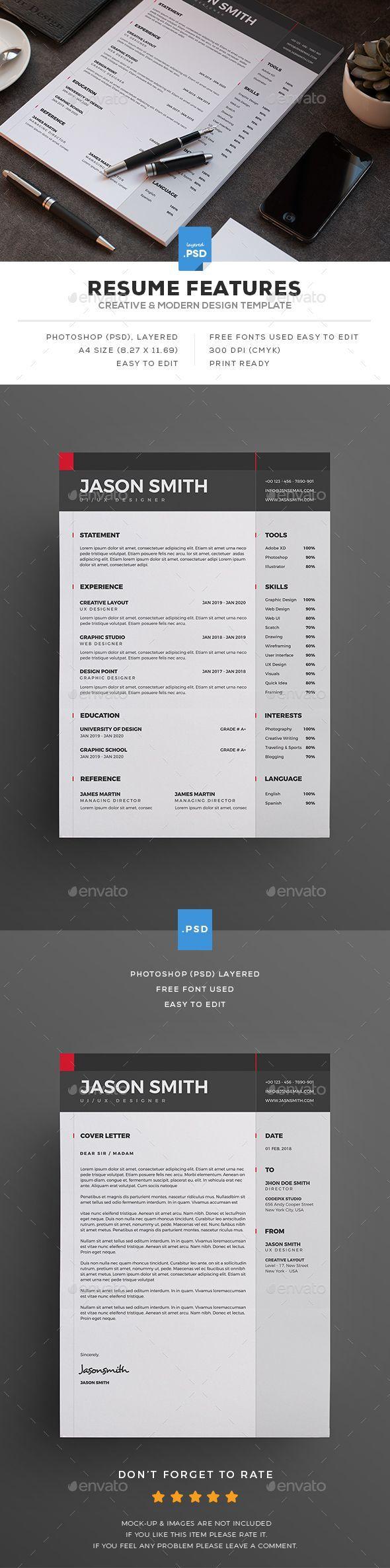 Resume u2014 Photoshop PSD cv template presentation