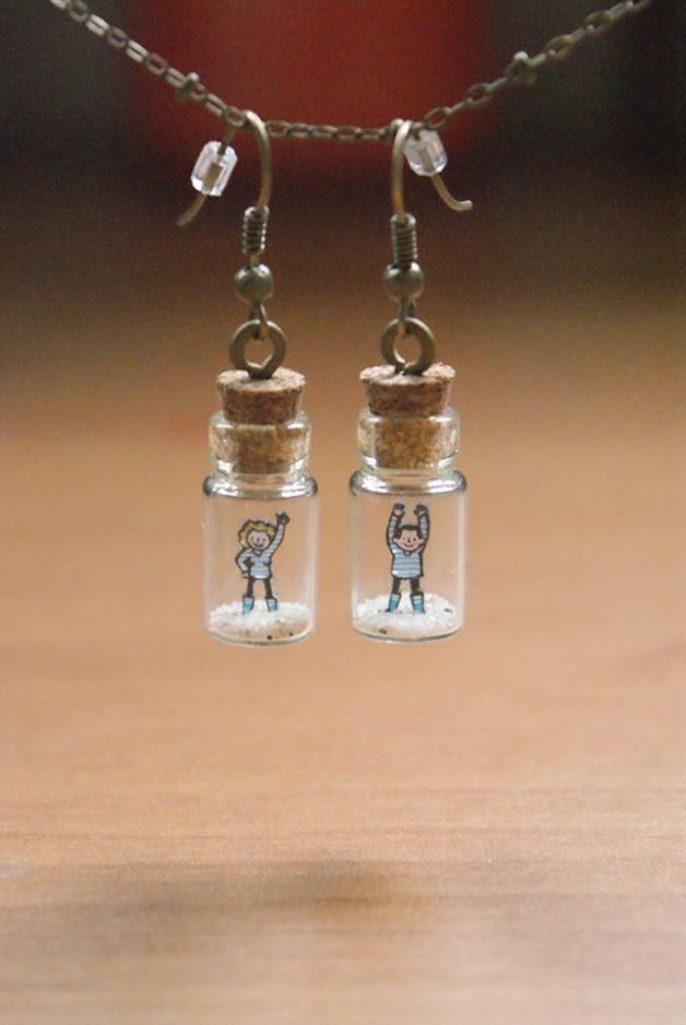 Pendentifs d'oreilles, En bouteille ! #1 est une création orginale de Micro-Fabrique sur DaWanda