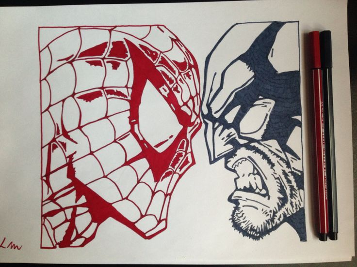 Marvel, Spider-Man vs Wolverine, Red+Blue fineliner, A4