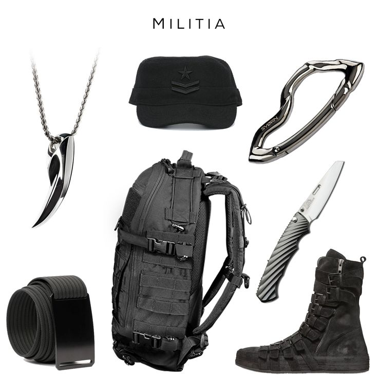 Militia style setClockwise: 'Commar' Cap by DIESEL, Arcus Carabiner by SVORN, RYO Japanese Folding Knife by ROCKSTEAD, Belted Boots by ANN DEMEULEMEESTER, FAST Pack Litespeed Backpack by TRIPLE AUGHT DESIGN, Ninja Belt by GRIP6, Fenrir Pendant by SVORN#edc #gear #edcgear #tactical #tacticalgear #streetwear #pocket #pocketdump #edcporn #edcdump #streetstyle #carabiner #keychain #knife #urbanstyle #ninja #black #militarystyle #watch #mensaccessories #iphone #menstyle #gadget #pendant #knives #