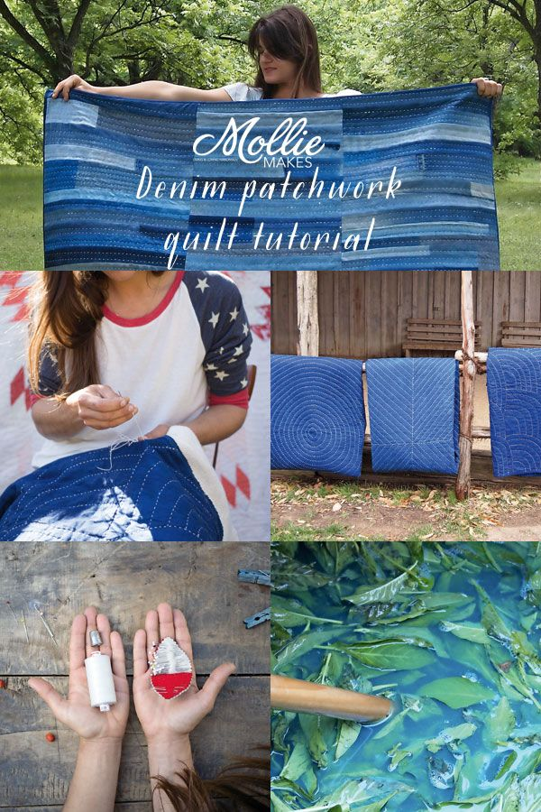 Customising your jeans? Use the leftover denim to make a denim patchwork quilt. Folk Fibers shows us how