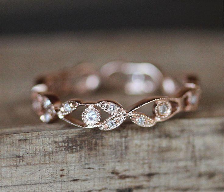 Antique Wedding Ring Full Eternity Pave Diamonds Ring Milgrain Bezel Ring Stackable Match Ring 14K Rose Gold Ring Match Band Match Ring by DesignByAndre on Etsy https://www.etsy.com/listing/484035344/antique-wedding-ring-full-eternity-pave