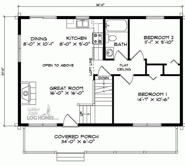 24x36 house floor plans with loft pinteres for 2 bedroom cabin plans with loft
