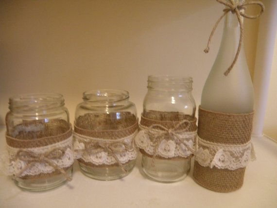 Shabby Chic Jars Wedding Decor Rustic Mason and Wine Bottles on Etsy, $10.00