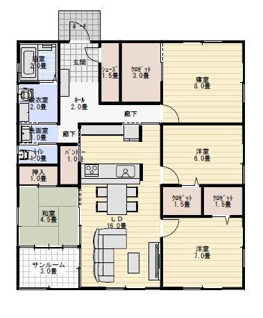 33坪4LDKサンルームのある平屋の間取り | 平屋間取り