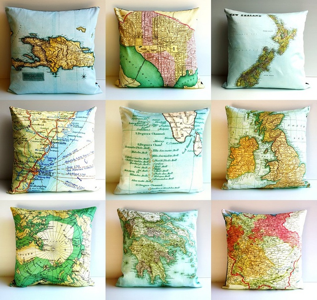 spiffing map cushions from my bearded pigeon