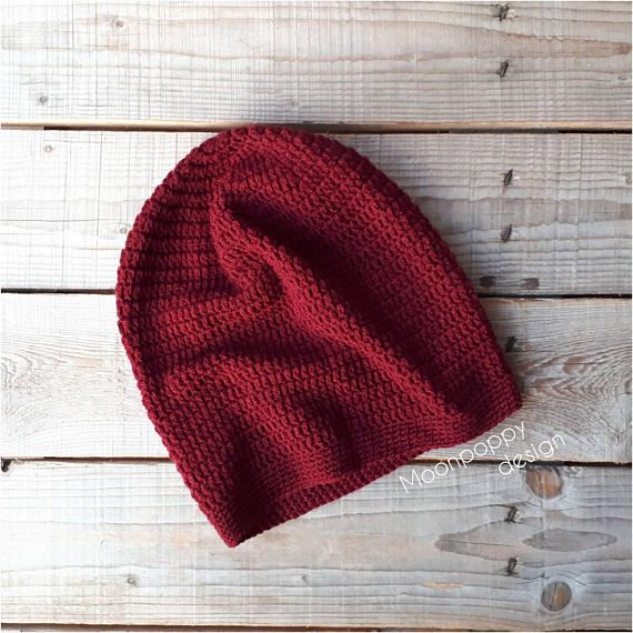 Crocheted slouchy hat Boho hat Slouchy beanie Burgundy hat