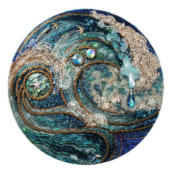 """""""Quite Clearly Ocean"""" by Diana Maus. Custom 10 beaded mosaic wall hanging by MyMosaicMoods on Etsy, $1600.00"""