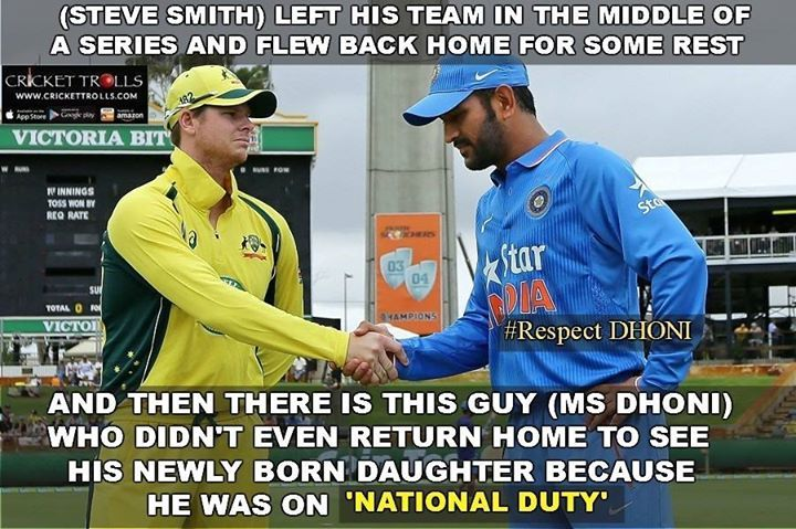 #MSDhoni #SteveSmith   Remember this sentence of MS Dhoni ? 'I am on National duty so everything else can wait' - http://ift.tt/1ZZ3e4d
