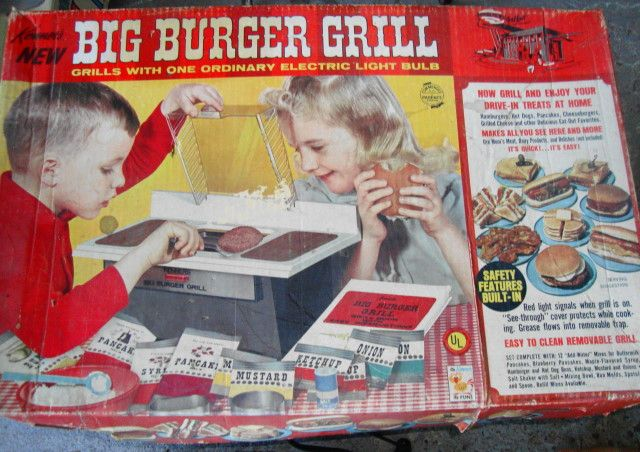 the Big Burger Grill. because there's no easy bake oven for boys. vintage toy packaging