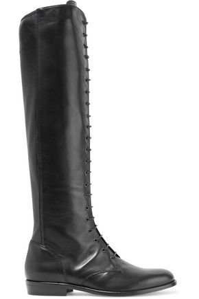 BELSTAFF WOMAN HEPWORTH LACE-UP LEATHER KNEE BOOTS BLACK. #belstaff #shoes #