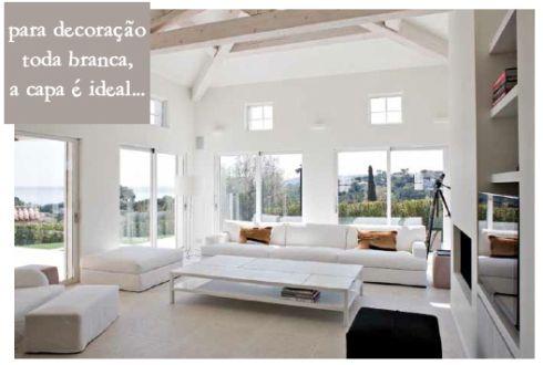 """capa para sofá de brim peletizado ou sarja chievo da """"Promex"""" (sintética)."""