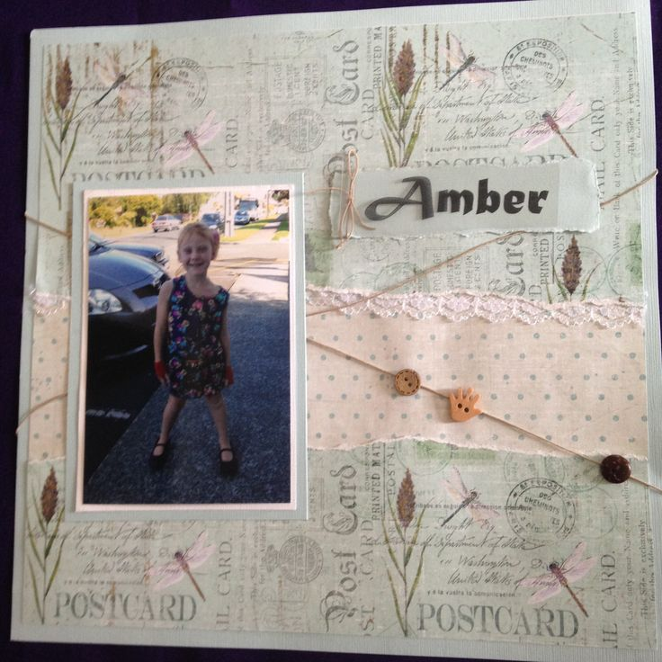 POSTCARD - $10  This is a great beginners page using gorgeous nature paper Contact Deborah kitsandbits1@gmail.com