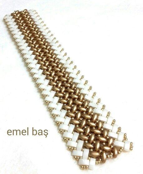 Superduo- half tila  bracelet by Emel Bas from Turkey