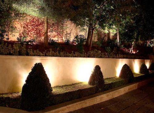 Рассеянными лучами света выделены силуэты декоративных кустарников на фоне однотонного светлого забора. Прожекторы направлены от взоров - чтобы не слепить