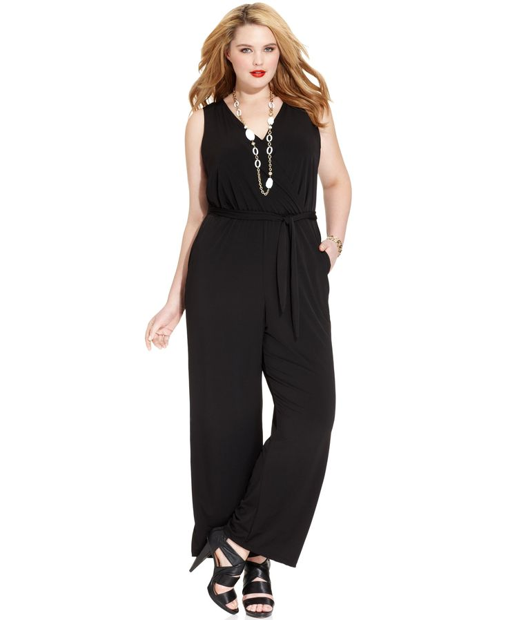 NY Collection Plus Size Sleeveless Belted Jumpsuit - Jumpsuits & Rompers - Plus Sizes - Macy's