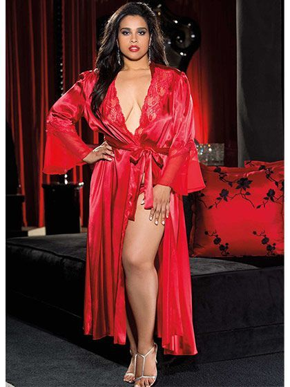 size 1x 2x 3x 4x Charmeuse Lace and Chiffon Long Robe  http://www.planetgoldilocks.com/valentines_day.htm  http://www.planetgoldilocks.com/valentines_day.htm perfect for christmas or Valentines day #valentinesday #christmas #valentinesdayplussizelingerie #plussizelingerie