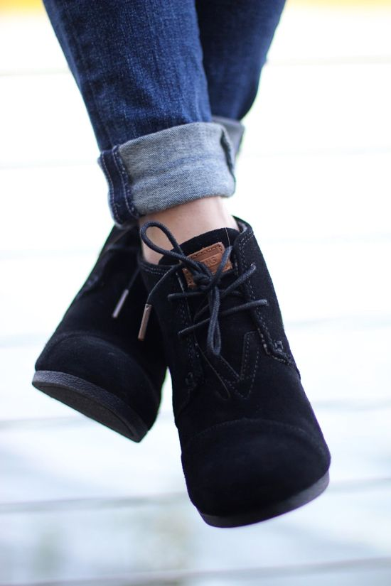 Desert Wedges and cuffed jeans.