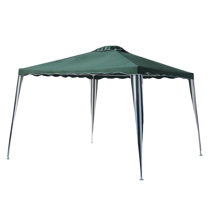 Aleko 10x10 Green Iron Foldable Outdoor Picnic Party Gazebo Canopy (Green), Size 10 x 10