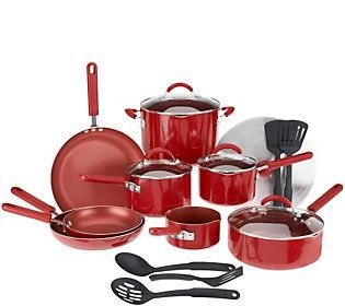 CooksEssentials 18-piece PorcelainEnamel Cookware Set w/DupontNonstick - a pan for everything
