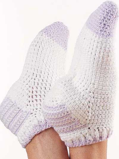 """Crochet these footies using worsted cotton yarn for the sportster in your family. Size: Fits up to 8"""", 8 1/2"""",9"""" or 10"""" around arch. Make to desired length.Skill Level: Easy"""