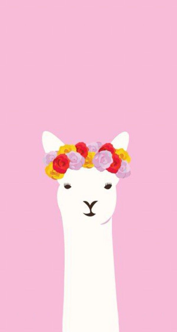 White lama with flower crown Sparkle wallpaper, Cute