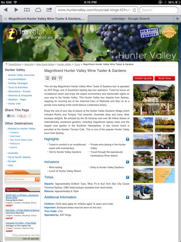 Hunter Valley tourism. The gardens, the wine, the brewery, golf, horse riding.