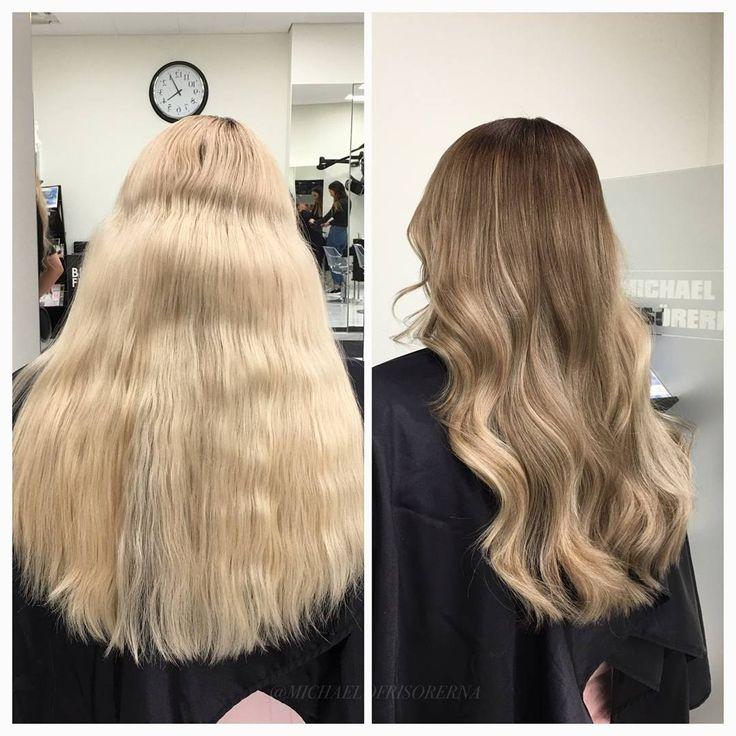 Kunden var trött på sitt helljusa hår och att få skarp utväxt. Så vi färgar in en mörk botten och gör ljusbruna effekter i längderna för att få ett levande resultat #longhair #balayagehair #kerastase #fusiodose