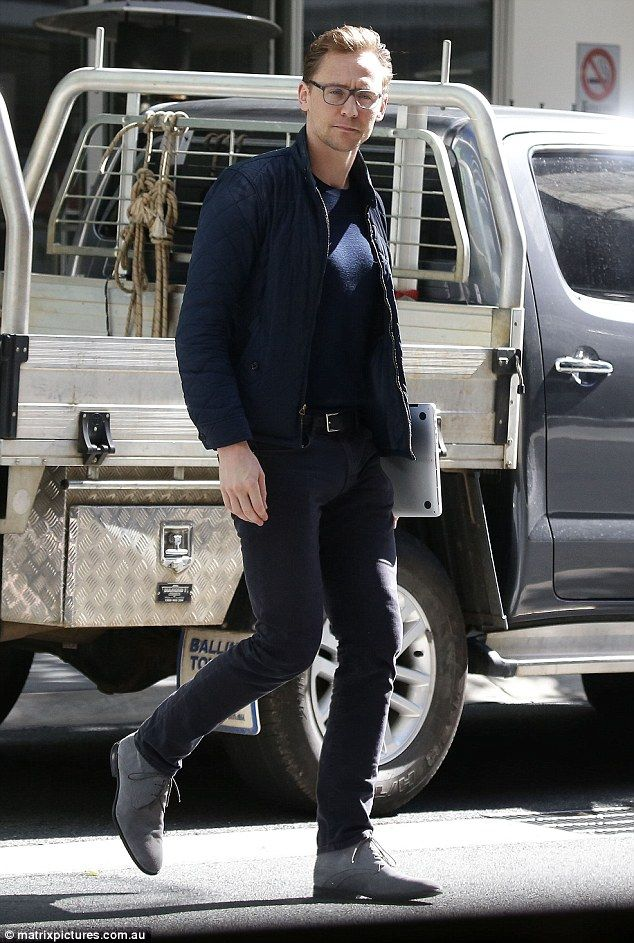 Tom Hiddleston, 35, cuts a casual figure in a navy jacket and dark jeans as he takes a break from filming Thor: Ragnarok in the Gold Coast. Source: Daily Mail http://www.dailymail.co.uk/tvshowbiz/article-3840752/Tom-Hiddleston-spotted-cutting-casual-figure-navy-jacket-dark-jeans-taking-break-filming-Thor-Ragnarok.html