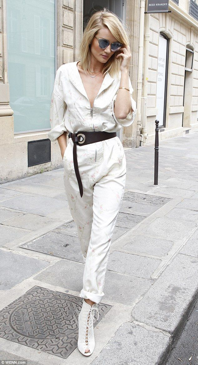 Rosie Huntington-Whiteley in a Dior SS15 jumpsuit in Paris on July 5, 2015