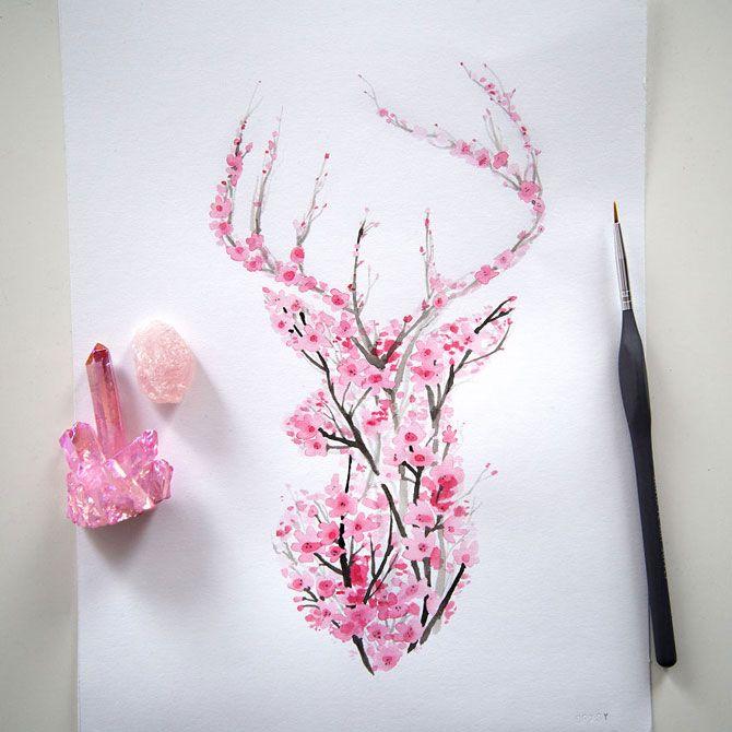 Животные цвета вишни в рисунках художника из Канады