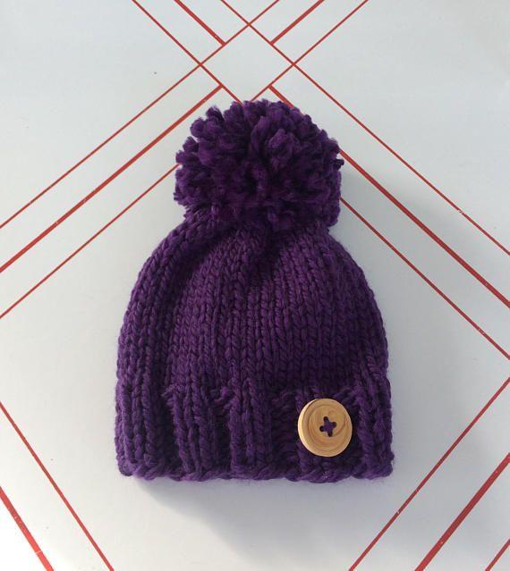 c4187bae purple baby pom pom hat-newborn wool hat-button hat-ready to ...