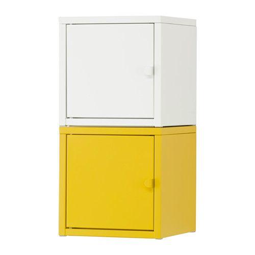 IKEA - LIXHULT, Opbergcombinatie, wit/geel, , Helpt je overzicht te houden over kleine spullen als laders, sleutels en portemonnees.Hou overzicht over belangrijke papieren, brieven en kranten door ze aan de binnenkant van de kastdeur te bevestigen.De deur kan links of rechts worden afgehangen, kies wat het best bij de ruimte past.