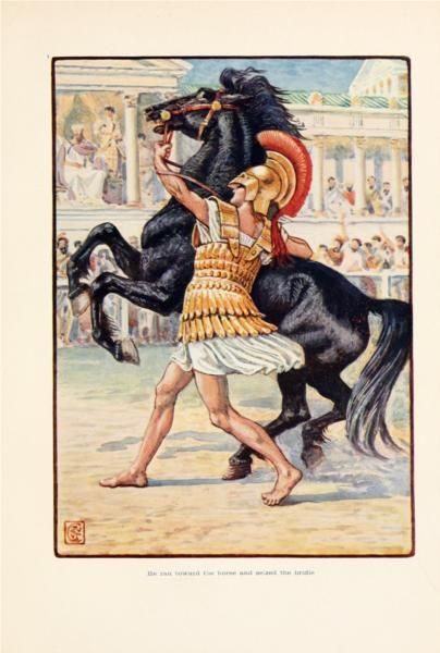 He ran toward the horse and seized the bridle - Walter Crane